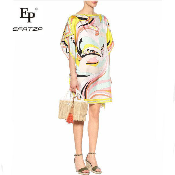 New 2018 Fashion Designer Dress Women s Short Sleeves Multico Geometric Print large size Stretch Jersey