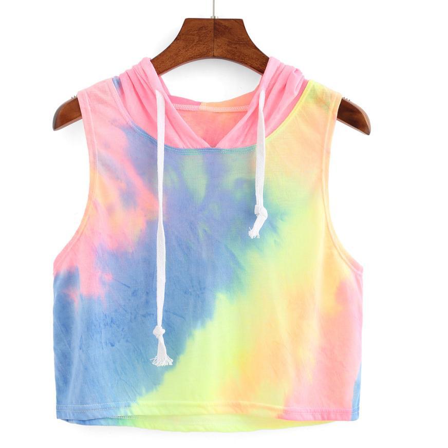 T Shirt women Crop top rainbow color Fashion Sexy Print Hooded summer Crop tops Sleeveless T-Shirt cropped feminino P45