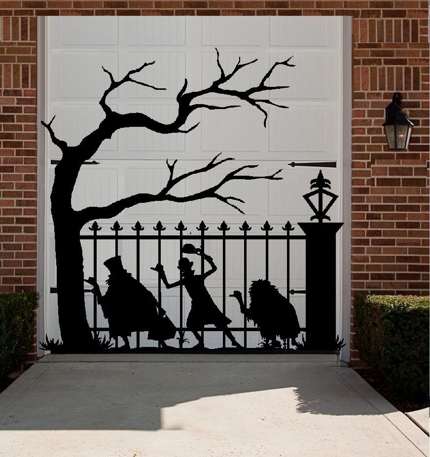Hitchhiking Ghost Vinyl Wall Decal Funny Ghost Big Tree Halloween