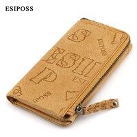 ESIPOSS Fashion Men's Genuine Leather Long Wallet Men's zipper business wallet Multi card bit wallet Men's large capacity clutch