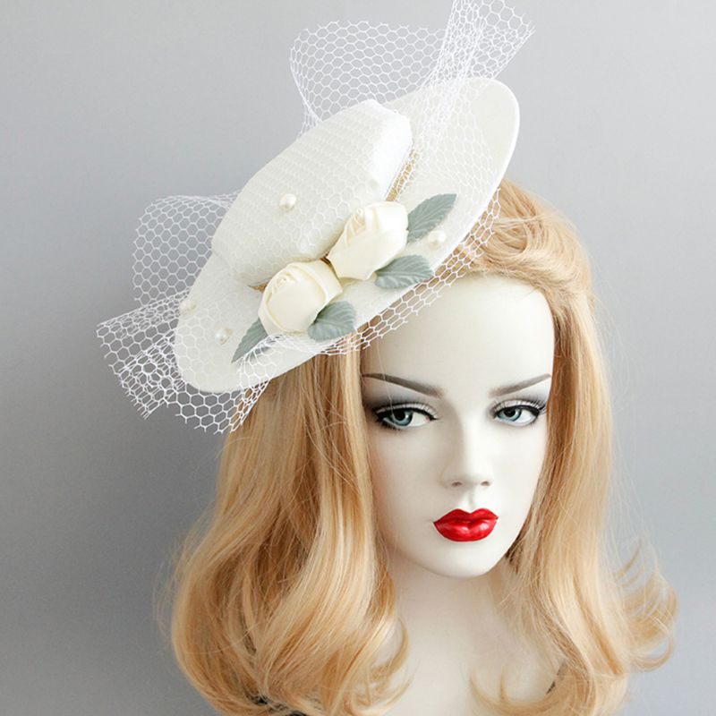 Lady Pearls Flower Pillbox Hat Veil Hair Clip Fascinator Headpiece for Party