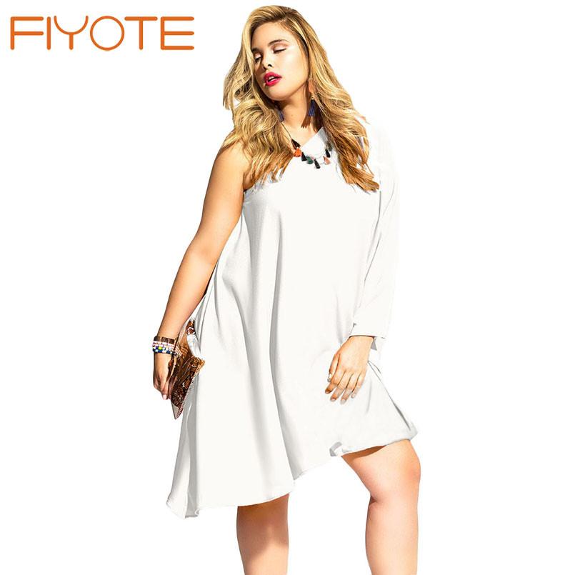 fiyote новая осень женщины случайные свободные черный асимметричный одно плечо платье lc22814 негабаритных плюс размер платья свадебные платья