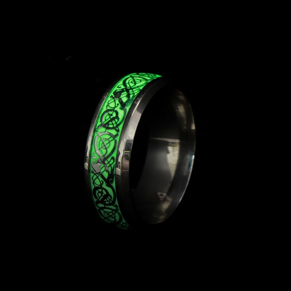 1 Pcs Neue Edelstahl Leuchtende Drachen Muster Ring Mode Im Dunkeln Leuchten Ring Für Männer Und Frauen Schmuck Großhandel Jahre Lang StöRungsfreien Service GewäHrleisten