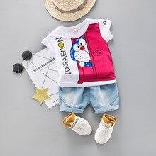 Cartoon Toddler Boy Summer Set Children Clothing Short Sleeve Shirt Boys Suit  Baby Tracksuit
