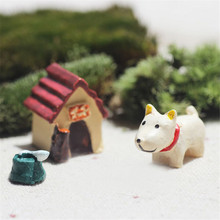2016 new creative resin ornaments micro landscape Moss micro landscape bonsai gardening decoration animal puppy three-piece