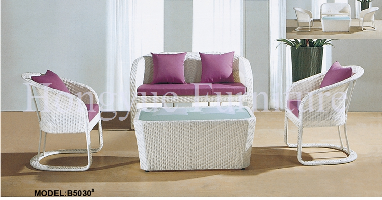 Outdoor Garden White Rattan Sofa Furniture With Cu.