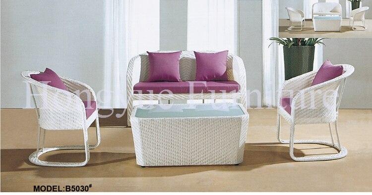 blanco jardn al aire libre muebles de ratn sof con cojines y