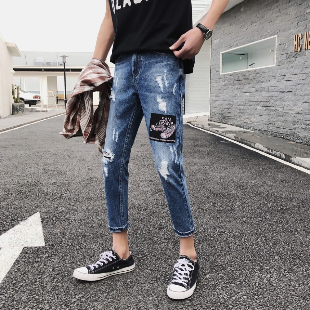 Fashion 2019 Spring Autumn Casual Patch Embroidery Students Teenagers Boys Denim Jeans Men Pencil Ankle Length Pants 28-34