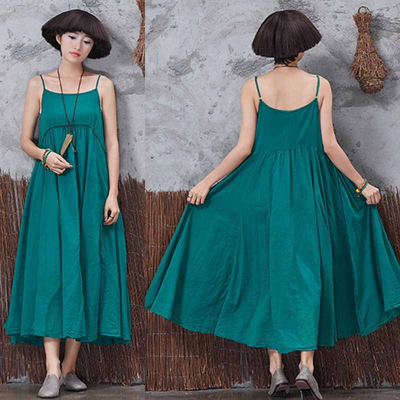 2018Fashion Women M-3XL Lady Spaghetti Strap O-neck Dresses M-3XL Loose Solid Casual Maxi Dresses Sundress Vintage Vestidos