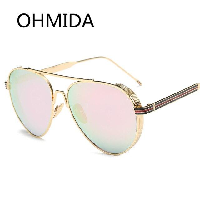 5b93c138f OHMIDA Retro Aviador Óculos De Sol Das Mulheres Do Vintage Rosa Espelhado  Óculos Shades Nova Marca