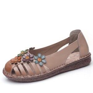 Image 2 - GKTINOO cuero genuino señoras zapatos planos de verano Mujer Slip On Casual mocasines con flores punta redonda sandalias de comodidad suave Mujer