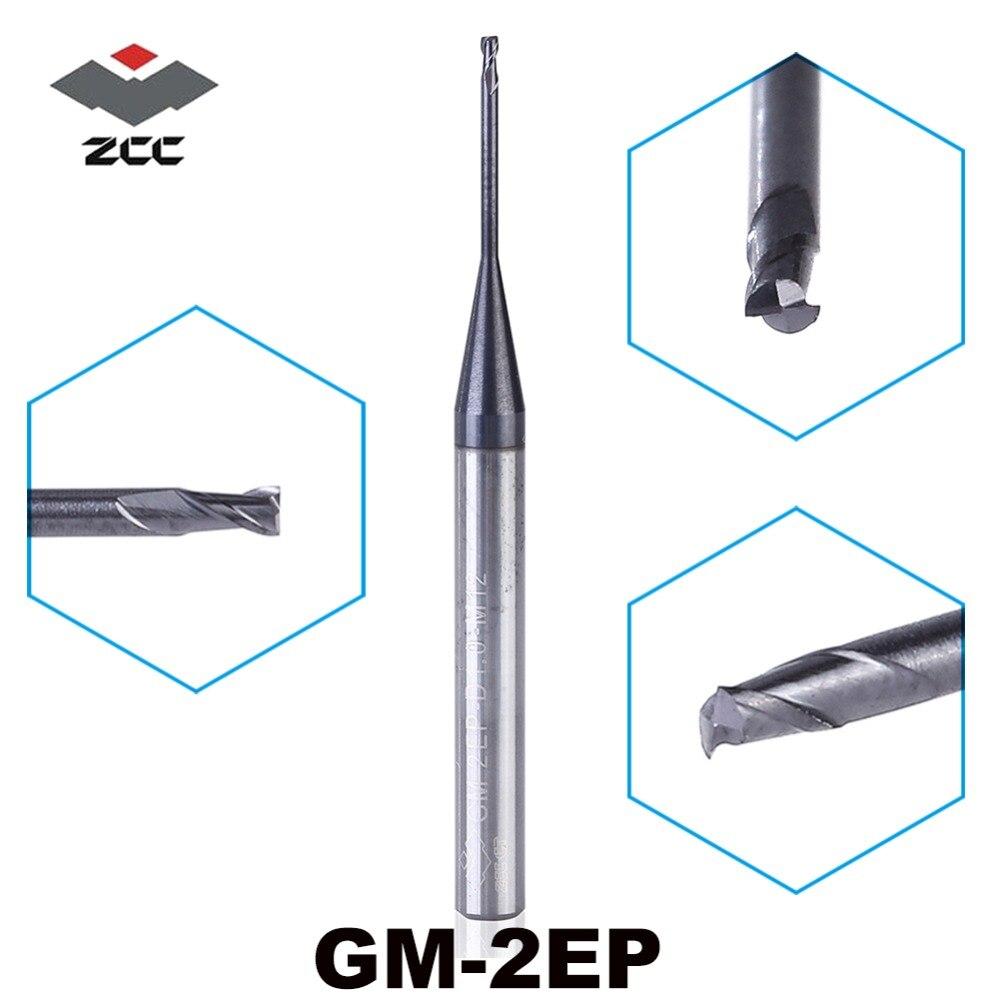 5 PCS/LOT ZCC. CT GM-2EP D0.5-D5.0 M04-M25 Cémenté 2 cannelures en Carbure aplatie fraise en carbure monobloc pour profonde profilé