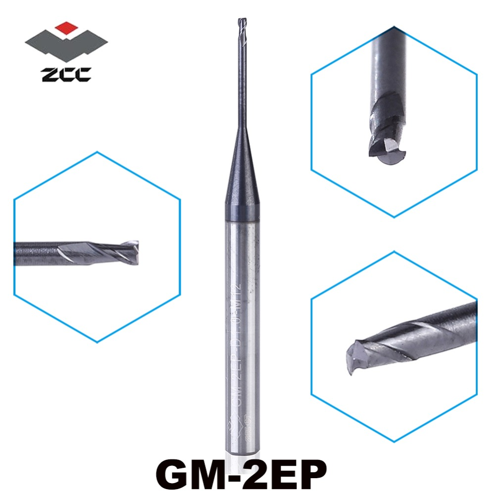 5 PZ/LOTTO ZCC. CT GM-2EP D0.5-D5.0 M04-M25 Carburo Cementato 2 flauto appiattite metallo duro micro end mill per deep slot profilo