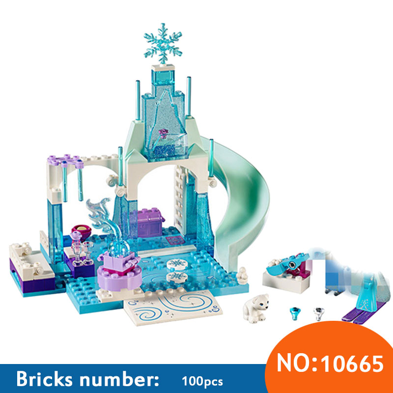 10665 Girl Friends Princess Snow Queen Anna Elsa's Sparkling Ice Castle Anna Elsa Building Blocks DIY Bricks Toys for Children lepin 01018 snow queen princess anna elsa building block 515pcs diy educational toys for children compatible legoe