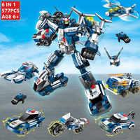 577Pcs 6IN1 Stadt Polizei SWAT Krieg Generäle Roboter Creator Bausteine Setzt Bildungs-spielzeug für Kinder legoinglys