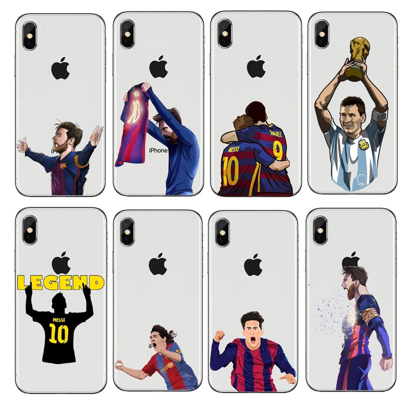 Sport Football Soccer Star Cristiano Ronaldo Messi soft silicone Phone Case Cover For iphone5 5S SE 6 6S Plus 7 7Plus 8 8Plus X