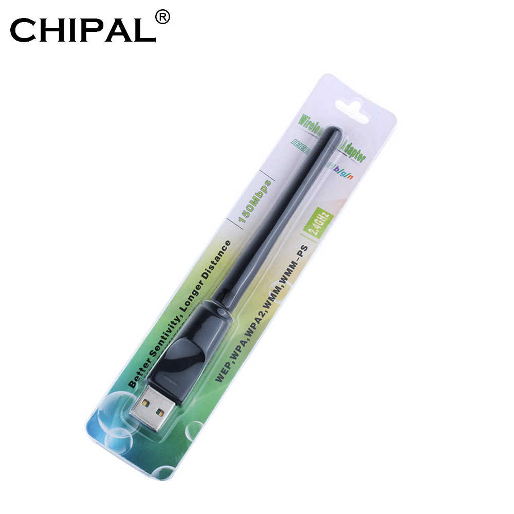 CHIPAL 150 Mbps tarjeta de red inalámbrica WiFi Mini USB adaptador LAN Wi-Fi receptor Dongle antena 802,11 b/g/ n para PC Windows Mac