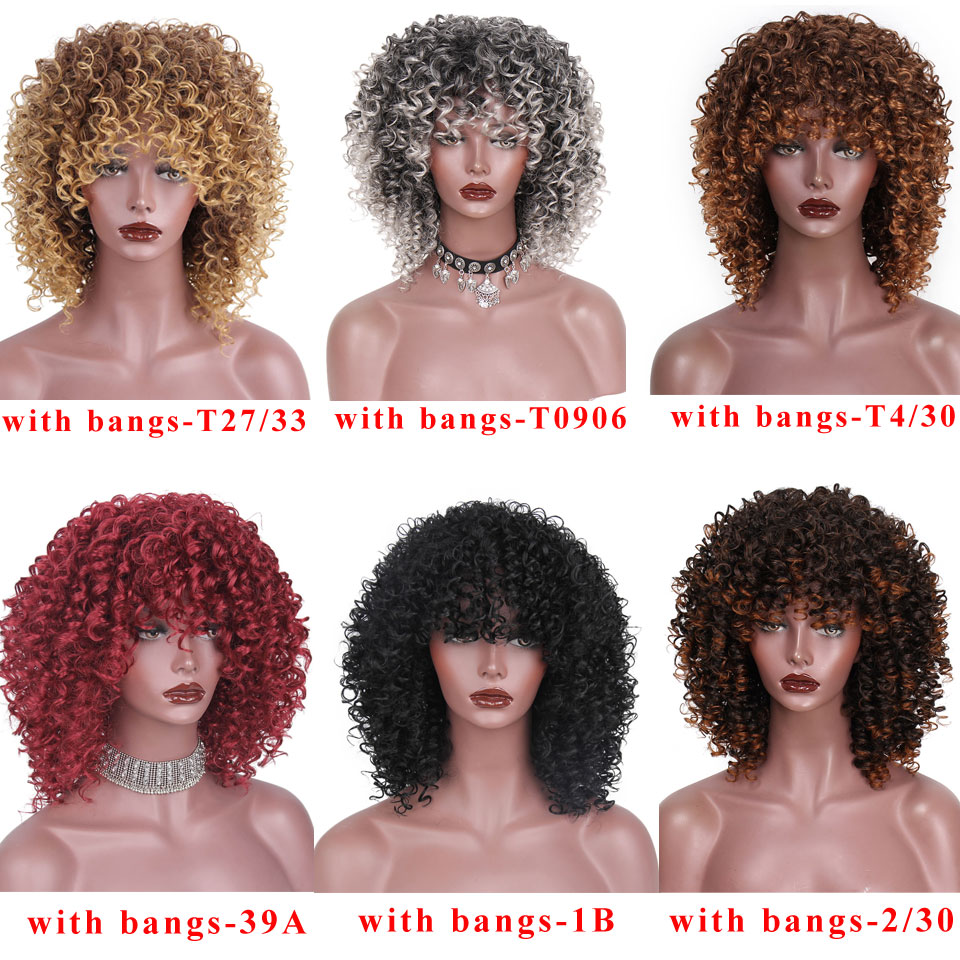 Image 3 - 14 Inches Short Afro Wig Brown Synthetic  kinky Curly Wigs for Women 10 Colors Ombre Fluffy  African American Natural Black HairSynthetic None-Lace  Wigs   -