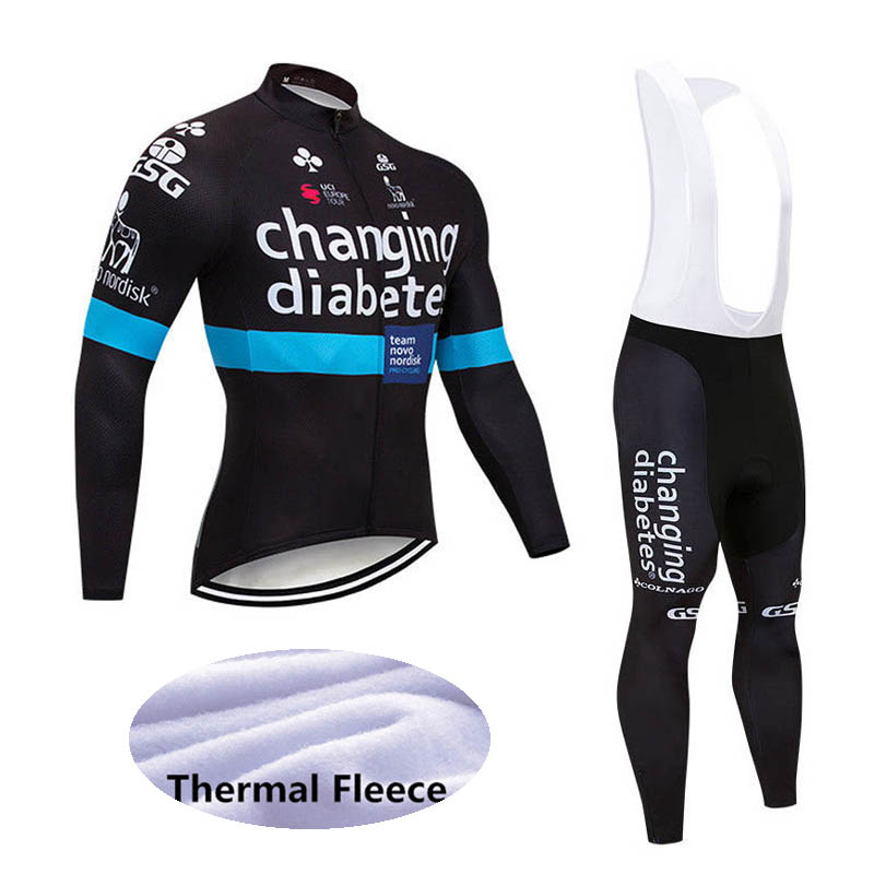 Team Winter Thermal Fleece Men Cycling Jersey And Bib Pant Set OR Jersey only