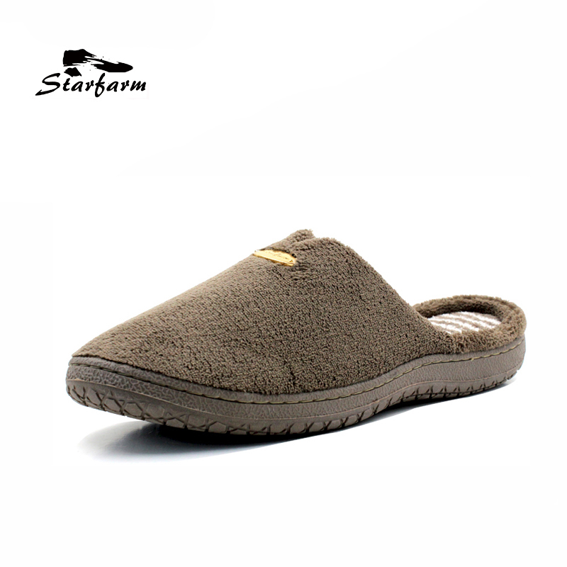 STARFARM Memory Foam Slippers Short Plush House Slippers Soft Warm Comfortable Anti Slip Shoes Man Shoes