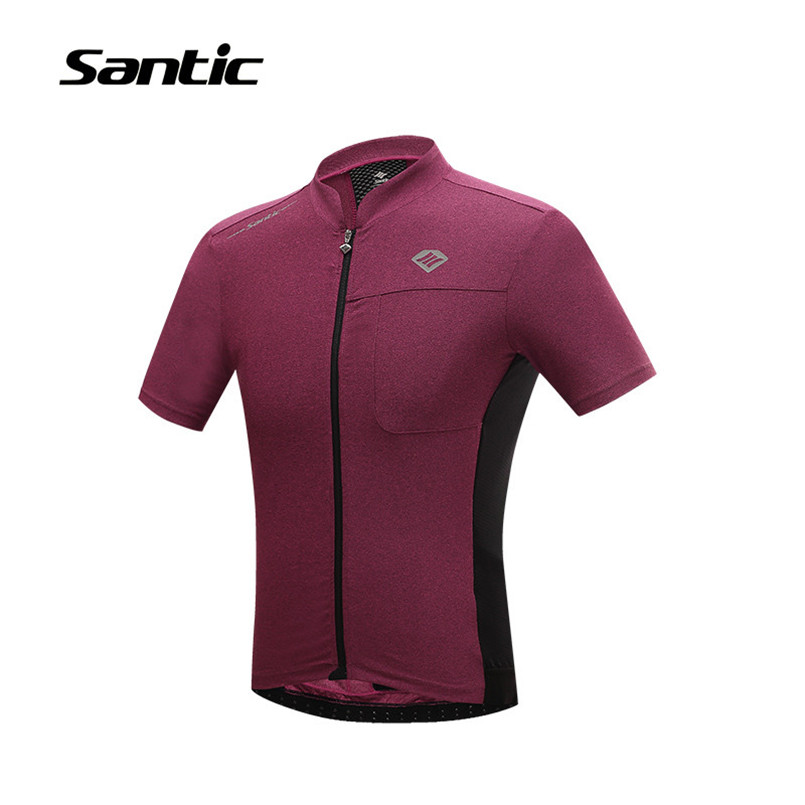 цена на Santic Short Sleeve Cycling Jersey Men Breathable Quick Dry Sport Road Mountain Bike Jersey Cycling Clothing Bicycle Sportswear