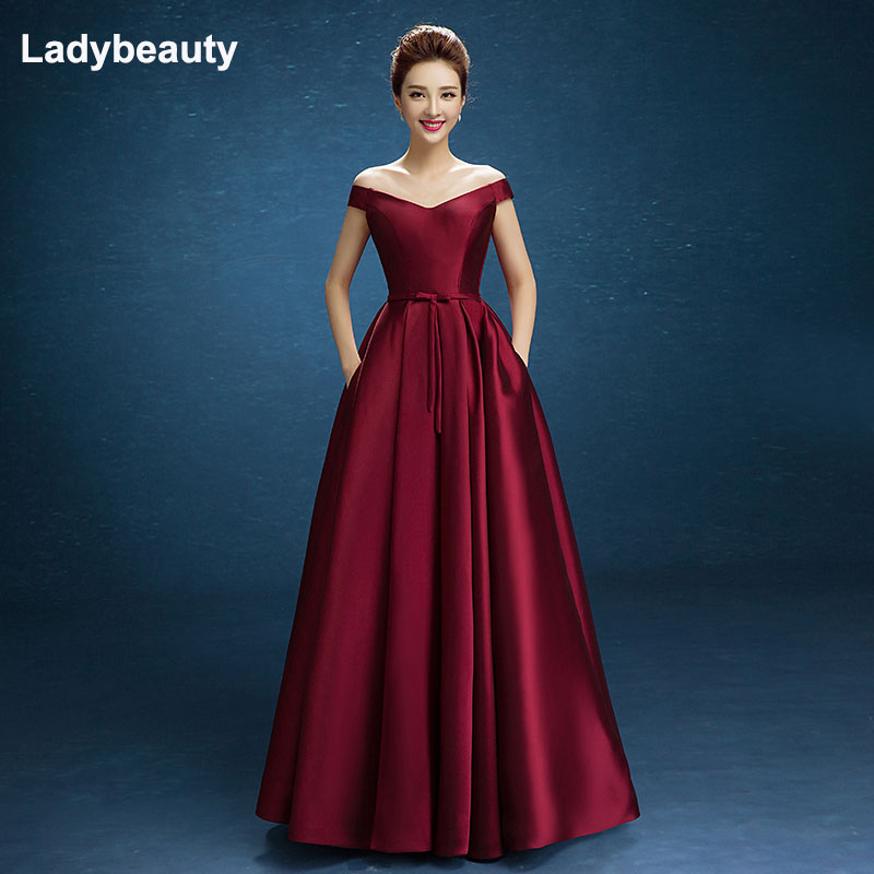 Ladybeauty 2018 New Arrive Party Prom Dress Vestido De Festa Boat Neck Satin Lacing Bow Long Style Dress Custom Size