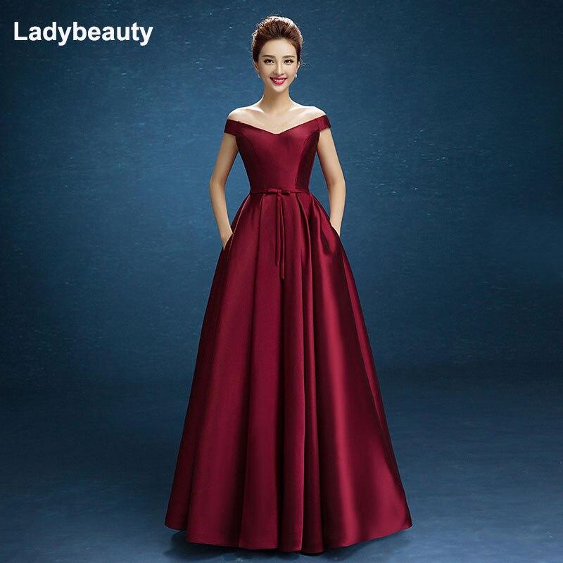 Ladybeauty 2018 nouvelle arrivée fête robe de bal robe de Festa bateau cou satin laçage arc longue style robe taille personnalisée