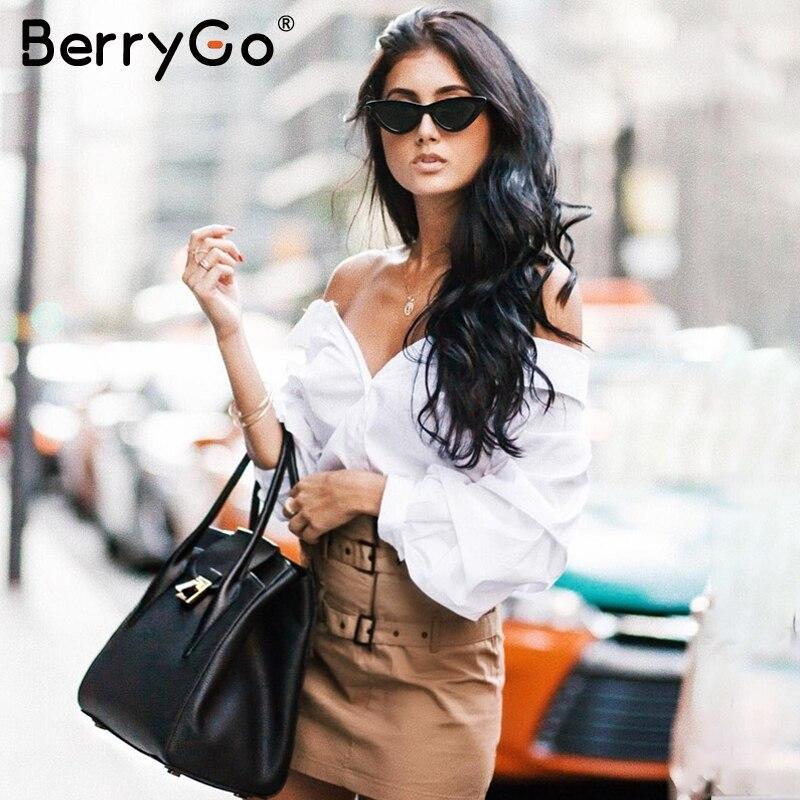 BerryGo Off Shoulder Strap Blouse Shirt Women Ruffle Lantern Sleeve White Feminine Blouse Streetwear Casual Sash Summer Top