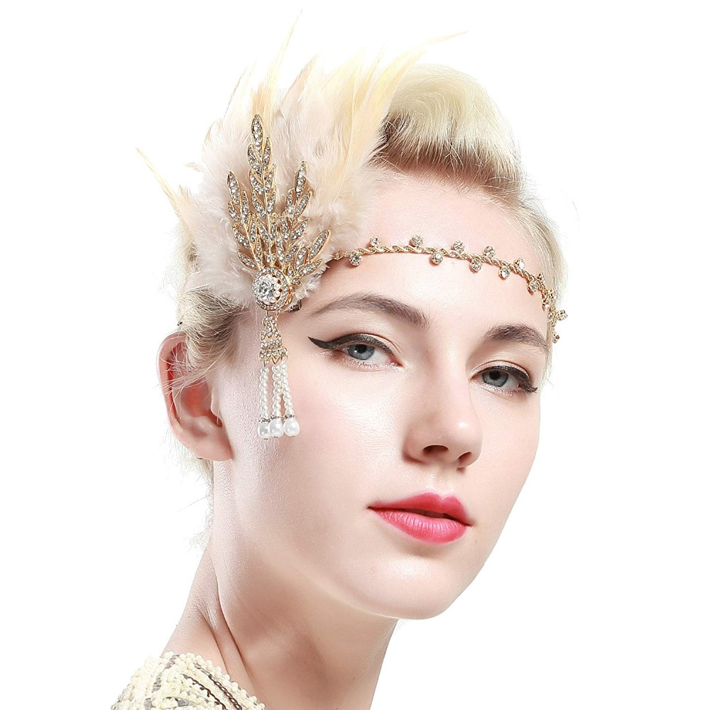 Gold Black Feather Headband Party Accessory Vintage Headband Women's Elegant   Headwear   Great GATSBY costume flapper