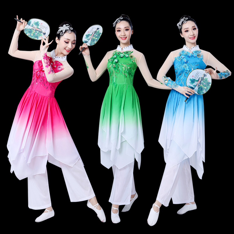 Stage & Dance Wear Ancient Chinese Clothes Dance Practice Clothes Female Classical Wide Sleeve Hanfu Tops Yangko Dance Hanfu Costumes For Stage