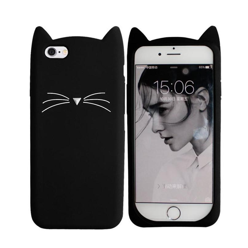 Barba lindo cat case para iphone 5 5s se 6 6s plus 7 7 plus 3d cajas del teléfon