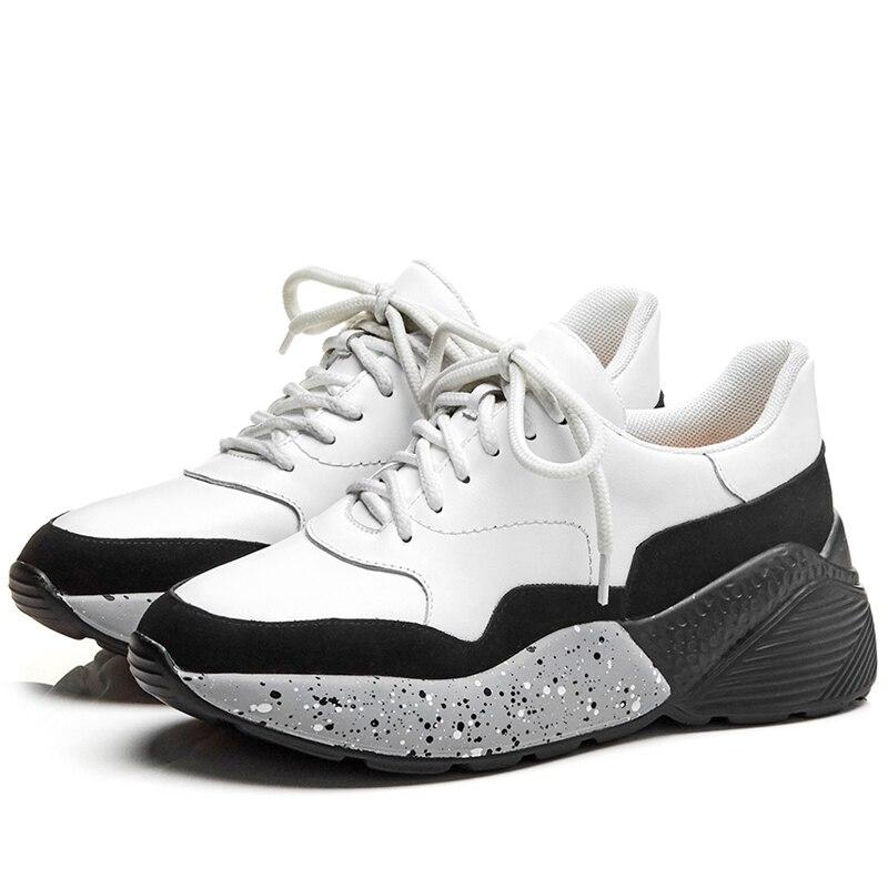 Cuir White Chaussures Compensées 2019 De Lacets Vache Doratasia En Confort Sneakers Ins Femmes À Semelles Femme Black Véritable Chaude Nouveau And Printemps ARj34L5