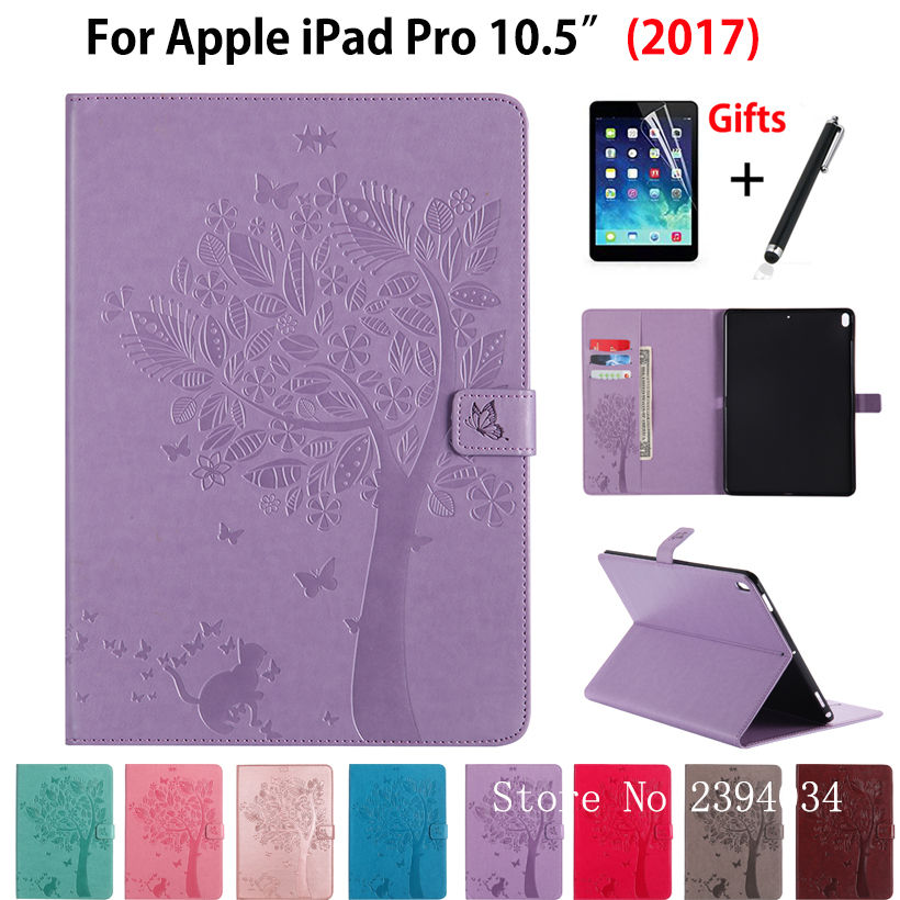 Case For new iPad Pro 10.5 inches 2017 A1701 A1709 Cover Funda Tablet Cat Tree Pattern PU Leather Stand Skin Shell +Stylus+film new 2017 luxury crocodile pattern leather cover case for ipad pro 10 5 inch tablet stylus film