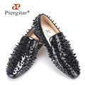 Piergitar 2016 new black patent leather men handmade shoes with different shapes of rivets Fashion Party men loafers men's flats
