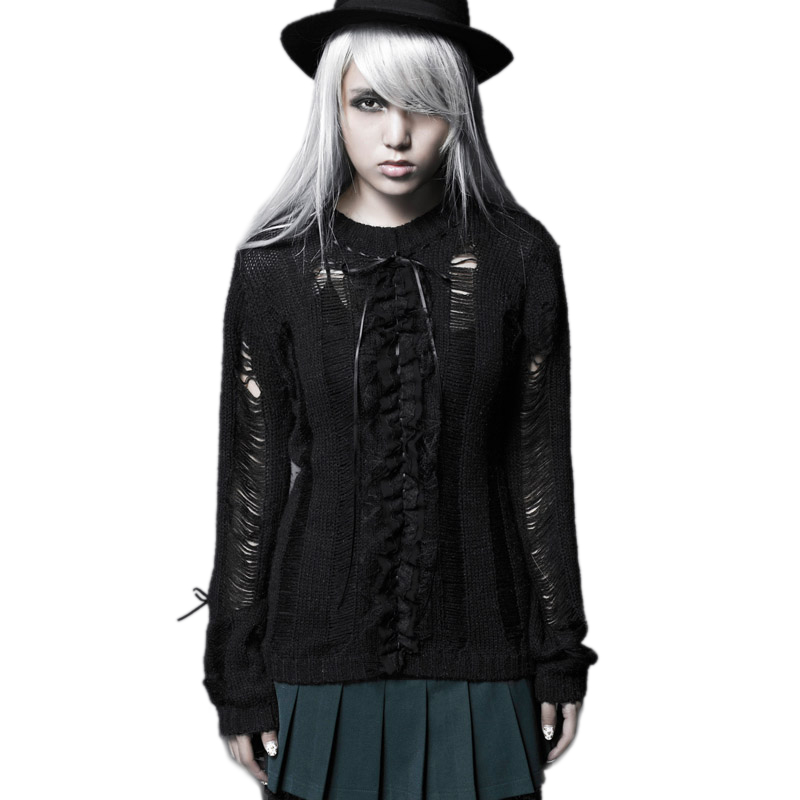 Gothic school Preppy Style broken Hollow Out Women Sweater ruffles bow design Very soft and fits rather wonderfully