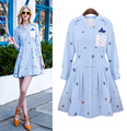 new women's striped dresses turn down collar printed long sleeve lace dress plus size vestidos 8027