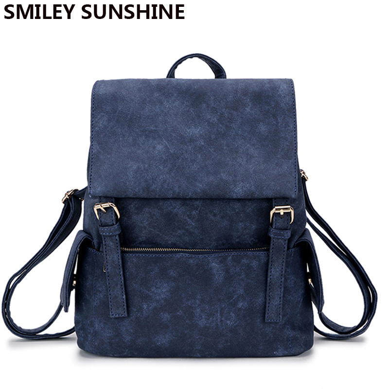 SMILEY SUNSHINE new simple style women backpacks vintage pu leather backpacks for teenage girls schoolbag fashion