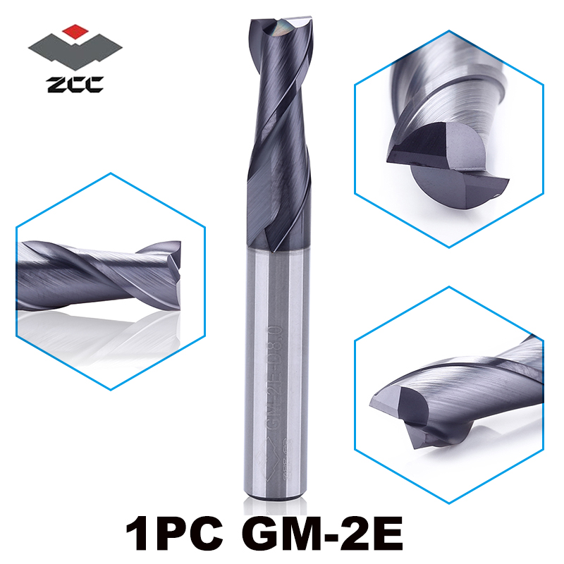 1PC ZCC.CT GM-2E D1.0-D20.0 Carbide Mill Cutter  2 Flute TiAIN Coated End Mills Cnc Mills Cobalt Alloy Milling Cutter For Steel