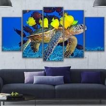 цены на Wall Art Canvas HD Prints Pictures Framework Home Decor Living Room 5 Piece Sea Turtle & Fish Friends Painting Coral Reef Poster  в интернет-магазинах