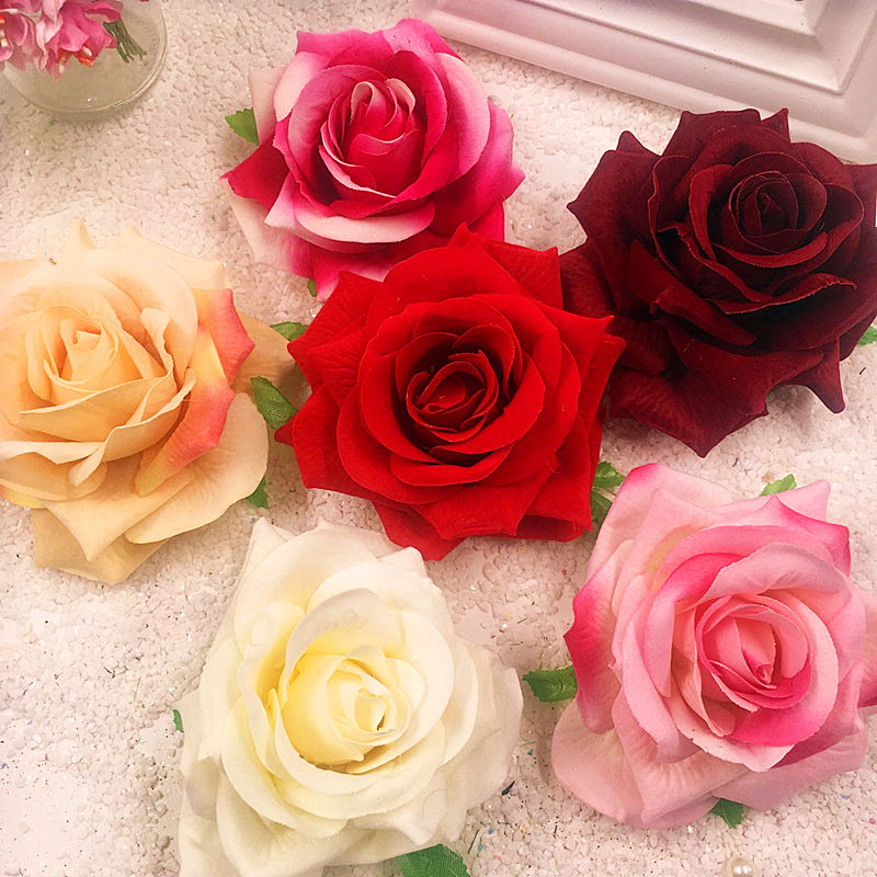 5 PCS (8 cm bunga) kain flanel buatan karangan bunga mawar korsase memegang  kotak hadiah pernikahan dekorasi DIY kepala kolase di Buatan   Bunga Kering  dari ... 071450ed62