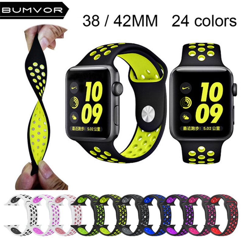 For NIKE+ apple watch series 4/3/2/1 with Light Flexible Breathable silicone strap for iWatch 38/42MM sport band official color