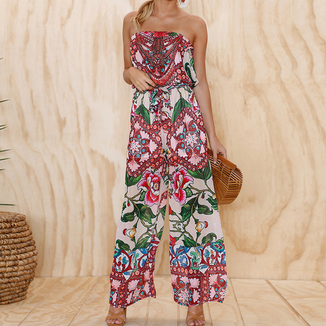 3ab242c4515 New Off Shoulder Floral Print Jumpsuit Summer Style Women Beach Boho Long  Playsuit Sleeveless Rompers Womens Jumpsuit Long Pants