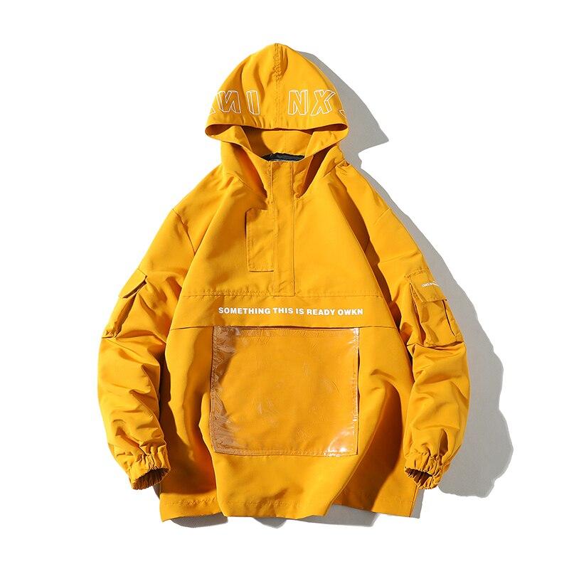 2019 Men Hooded Streetwear Casual Men Jacket Hip Hop Windbreaker Pullover Mens Jacket Coat Front Pocket Man Overcoat LBZ135