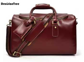 Real Cow Leather Men Duffel Bags Hign Quality Genuine Leather Luggage Bags Large Capacity Casual Travel Bags lfb04 - DISCOUNT ITEM  23 OFF Luggage & Bags