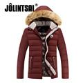 Jolintsai Тонкий Пуховик Куртка Мужчины 2017 Плюс Размер Зима куртка Мужчины Повседневная Меха С Капюшоном Вниз Пальто Молния Зимнее Пальто мужчины