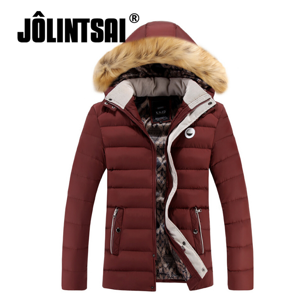 ФОТО Jolintsai Slim New Jacket Parka Men 2017 Plus Size Winter Jacket Men Casual Fur Hoody New Coat Zipper Winter Coat Men