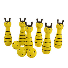 BOHS Kids Sport Physical Bee Frog Ladybug Cow Animal Bowling Ball Children Baby Wooden Educational Toy , 1SET=6 Pins+2 Balls(China)