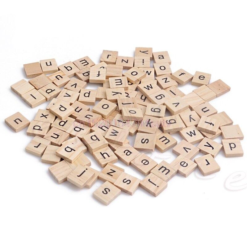 Деревянный Алфавит Эрудит Плитки черные буквы Ремесла Дерево 100 шт. # H055 #