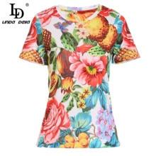 Summer T-Shirt Beading Pineapple Casual Tops Ladies Tees LINDA DELLA Floral-Print Fashion-Designer