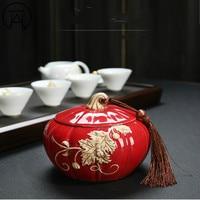 1PCS Jing de zhen Ceramic Pu'er Tea Jar Spices Storage Box kitchen Jars Candy Jar Tea Caddy Decorative Gift